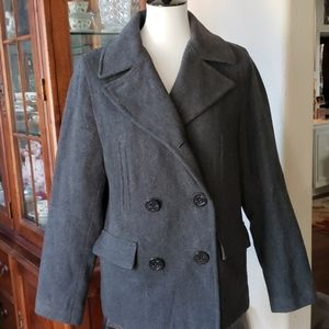 abercrombie Youth Gray Wool Pea Coat